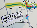 How far is the 405 traffic expected to extend on each side of the closure?